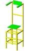 Волейбольная вышка для судьи, регулируемая по высоте, снабжена колесиками для передвижения.